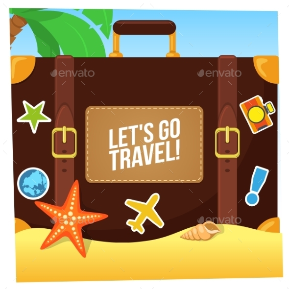 GraphicRiver Journey Suitcase On The Beach 11531982