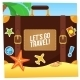 Journey Suitcase On The Beach. - GraphicRiver Item for Sale