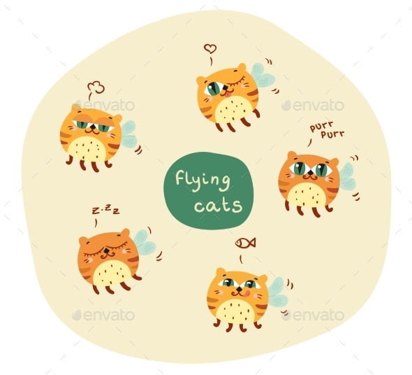GraphicRiver Set Of Abstract Flying Cats 11532719