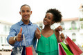 Portrait African American Couple Shopping Smiling With Thumb up - PhotoDune Item for Sale