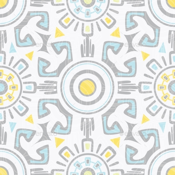 GraphicRiver Vector Grey Blue Yellow Tribal Seamless Pattern 11533238