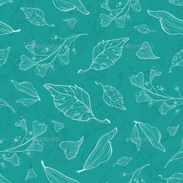 GraphicRiver Vector Flying Green Leaves Seamless Pattern 11533244