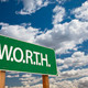 Worth Green Road Sign and Dramatic Clouds Background. - PhotoDune Item for Sale