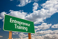 Entrepreneur Training Green Road Sign and Dramatic Clouds Background. - PhotoDune Item for Sale