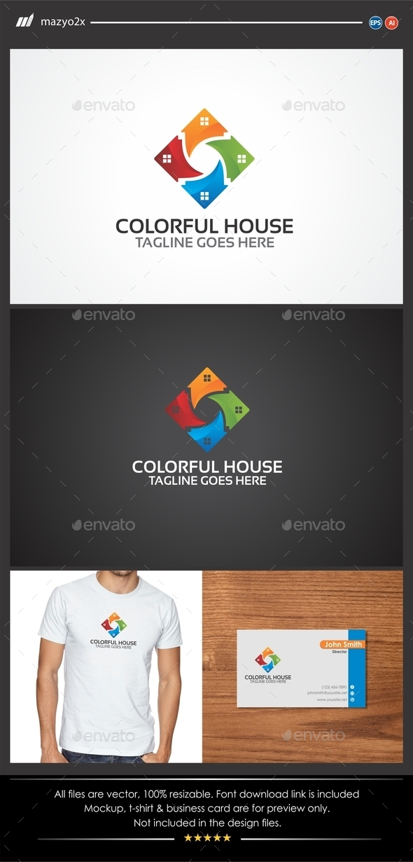 GraphicRiver Colorful House Logo 11535568