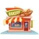 Vector Illustration Of Bakery Building With Bright - GraphicRiver Item for Sale
