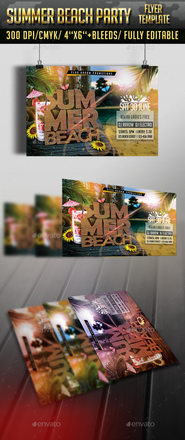 GraphicRiver Summer Beach Party Flyer Template 11538625