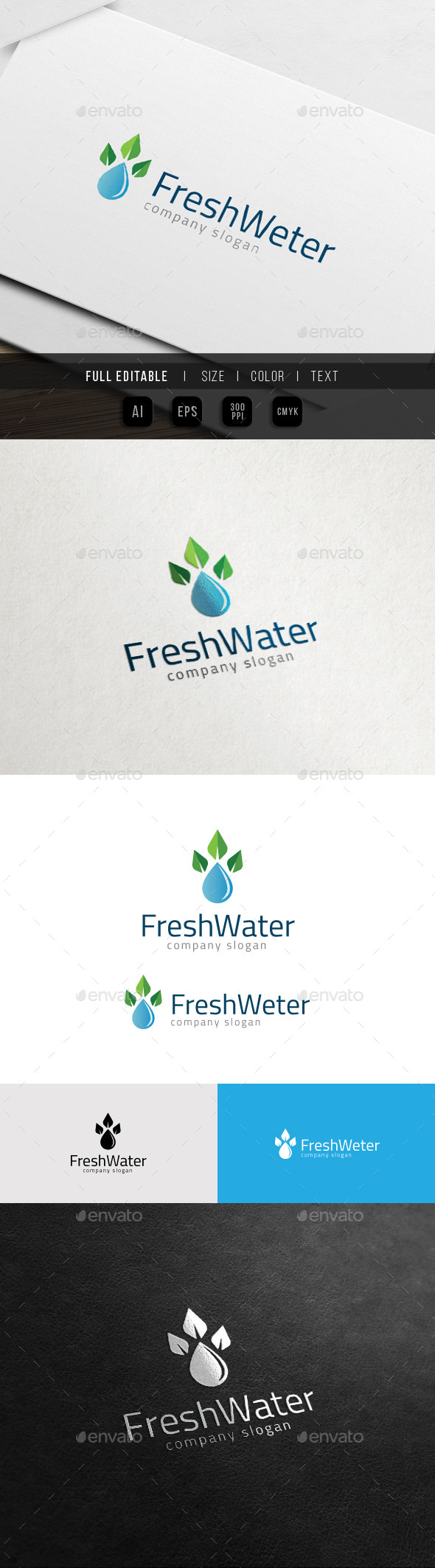 GraphicRiver Eco Fresh Property Mineral Water Drop Logo 11538905