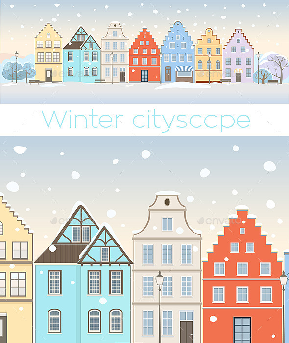 GraphicRiver Winter Cityscape with Retro Houses 11539020