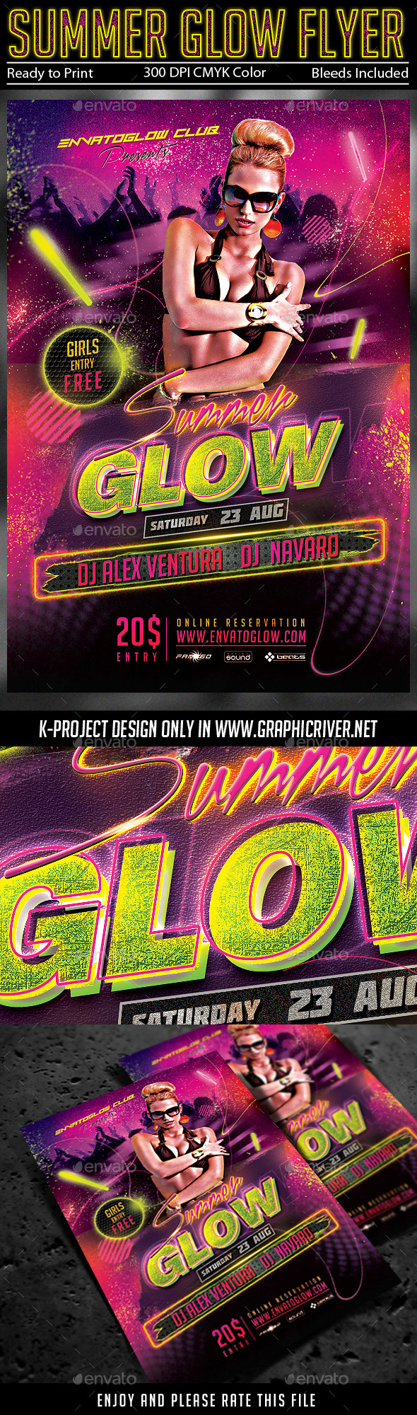 GraphicRiver Summer Glow Party Flyer 11539022