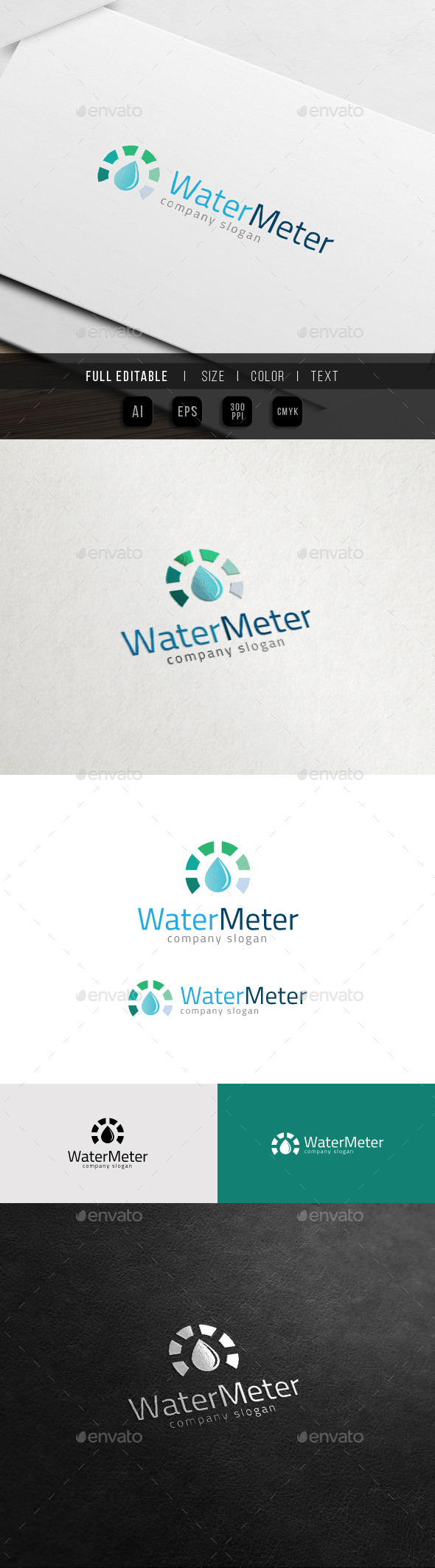 GraphicRiver Pure Water Meter Mineral Quality Logo 11539036