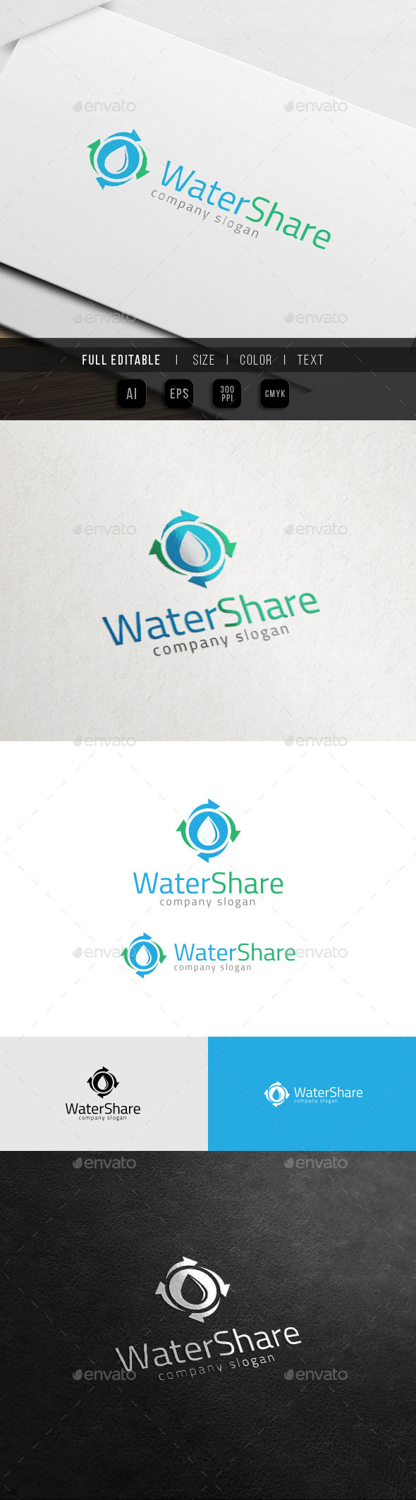 GraphicRiver Water Drop Share Mineral Water Treatment Logo 11539044