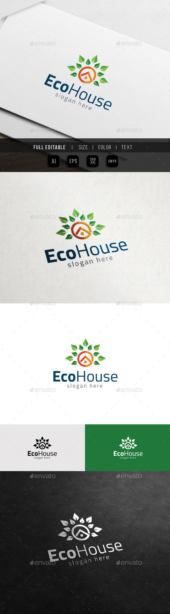 GraphicRiver Eco Green Property Vegetable House Logo 11539054