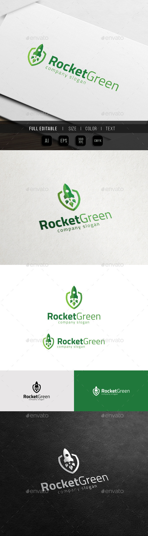 GraphicRiver Green Startup Growth Rocket Launch Logo 11539127