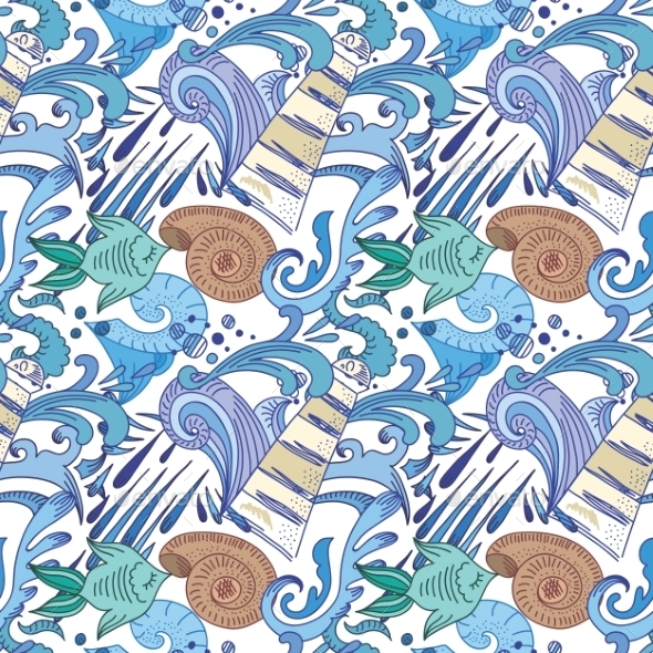 GraphicRiver Nautical Blue Pattern 11539164