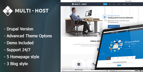Multi Host - Responsive Hosting Drupal Theme