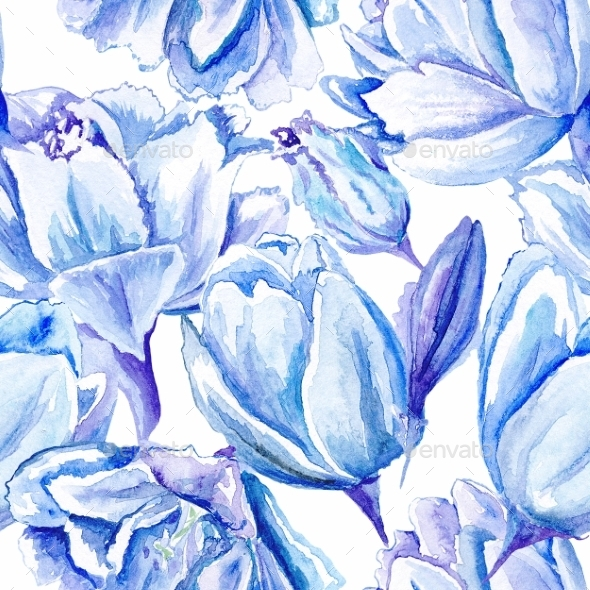 GraphicRiver Blue Watercolor Tulip Pattern 11539986