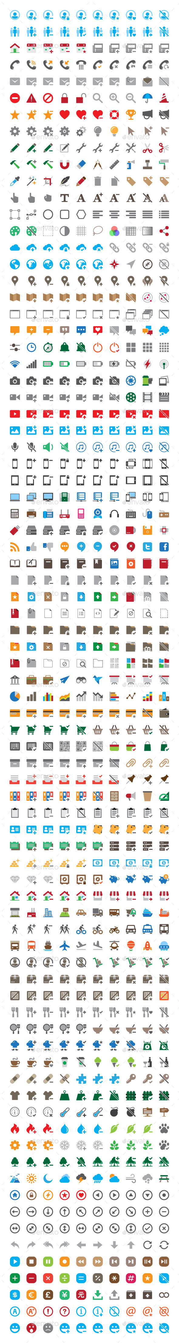 GraphicRiver 800 Round Corner Color Flat Vector Icons 11540062