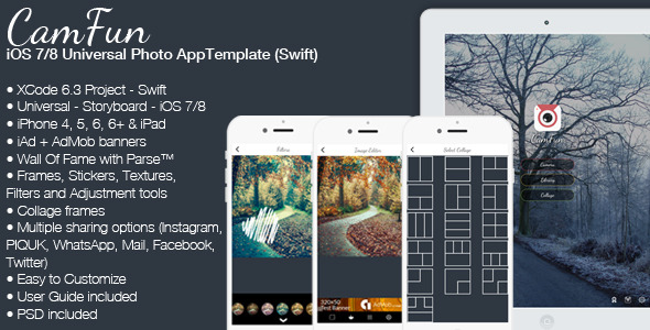 CodeCanyon CamFun iOS Universal Photo App Template Swift 11540128
