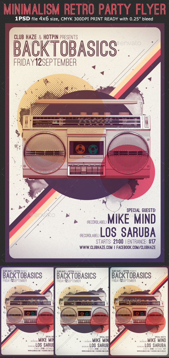 GraphicRiver Minimalism Retro Party Flyer Template 11540177