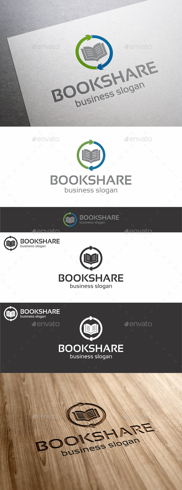 GraphicRiver Book Share Logo Template 11540586
