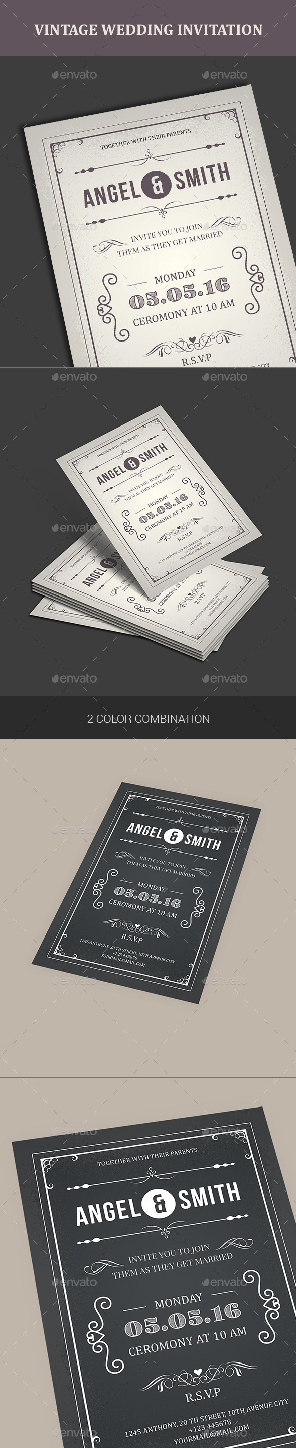 GraphicRiver Vintage Wedding Invitation 11540617