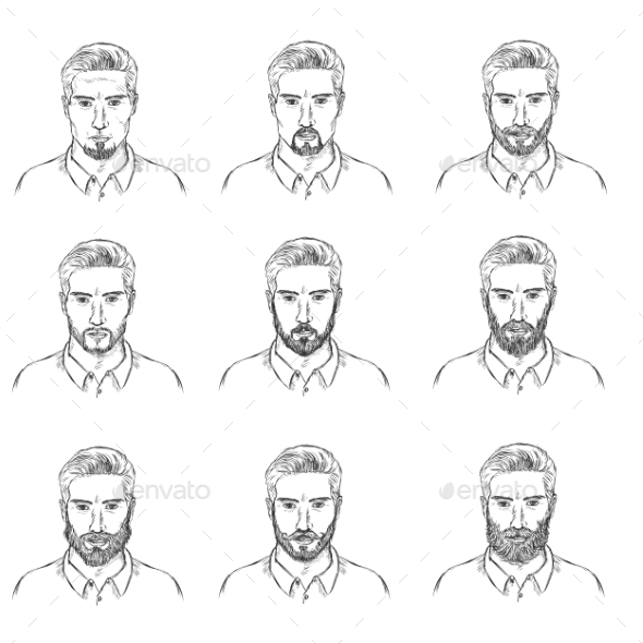 GraphicRiver Vector Set Of Sketch Mens Faces With Beards 11541170
