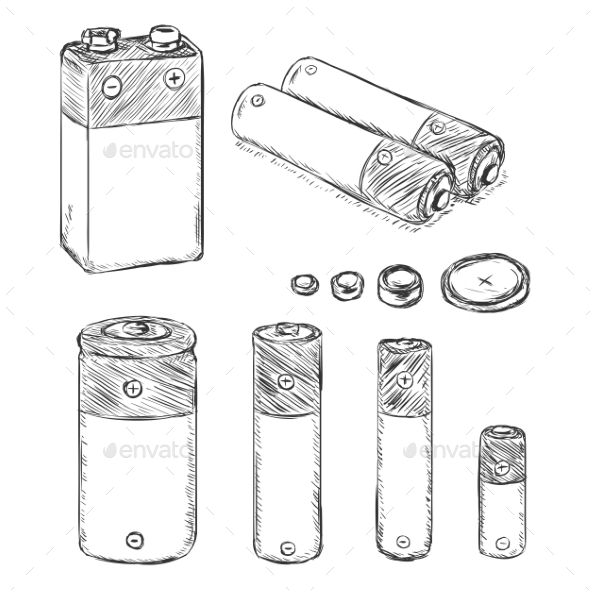 GraphicRiver Vector Set Of Sketch Batteries 11541192