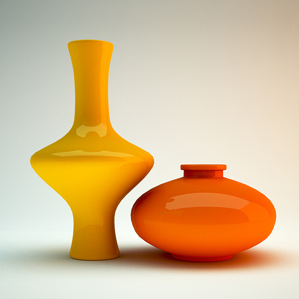 Vase yellow blue