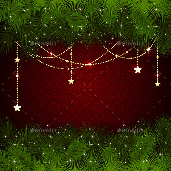 GraphicRiver Christmas Decoration on Red Background 11542413