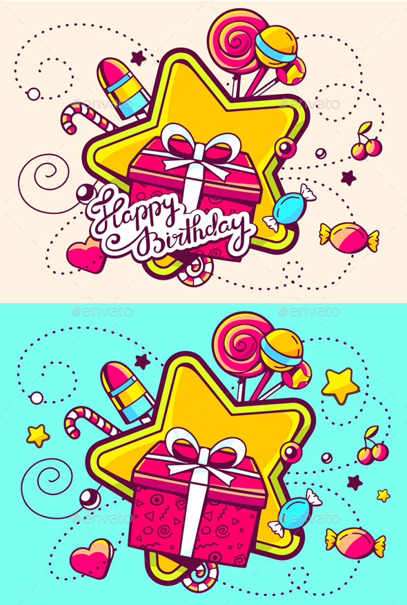 GraphicRiver Gift Box and Confection on Color Backgrounds 11540647