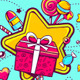 Gift Box and Confection on Color Backgrounds - GraphicRiver Item for Sale