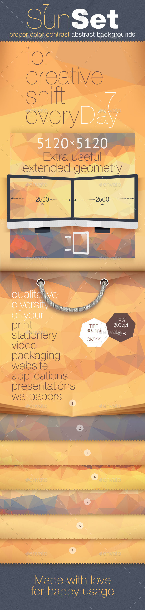 GraphicRiver Poly Backgrounds Daily Set for a Week Sunset 11471174