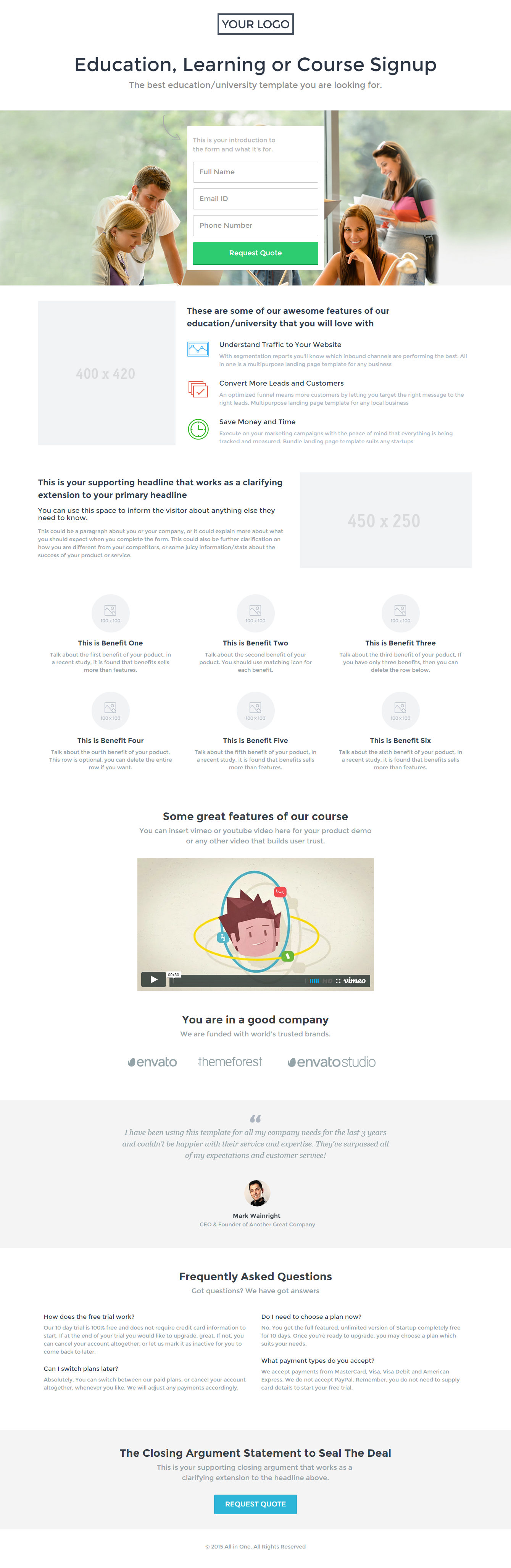 All in One - Multipurpose Landing Page Template