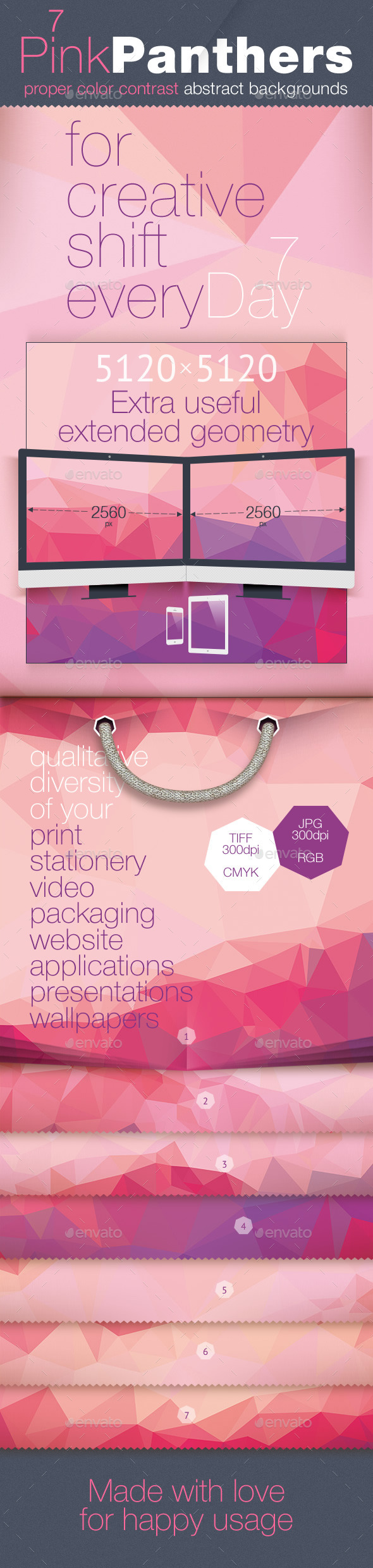 GraphicRiver Poly Backgrounds Daily Set for Week PinkPanthers 11544708
