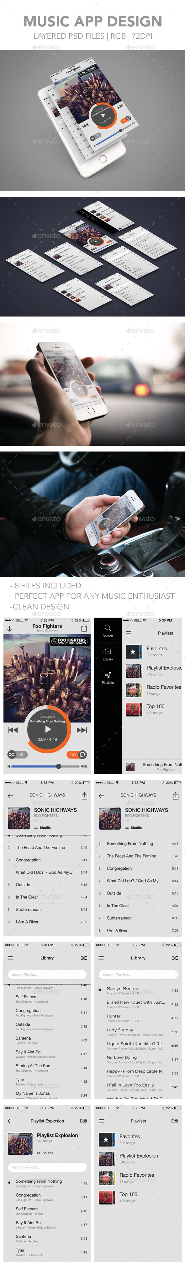 GraphicRiver Mobile Music App Design 11544736