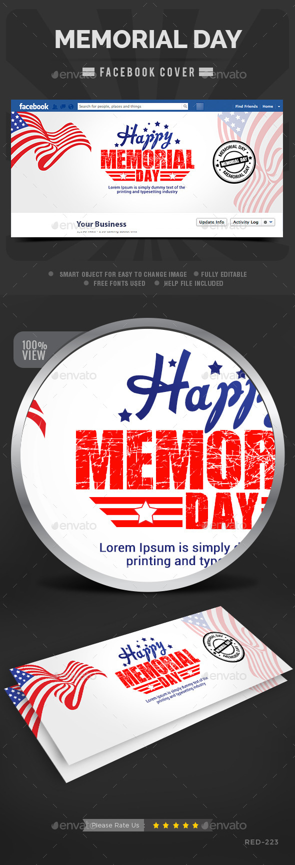 GraphicRiver Memorial Day Facebook Cover 11544809