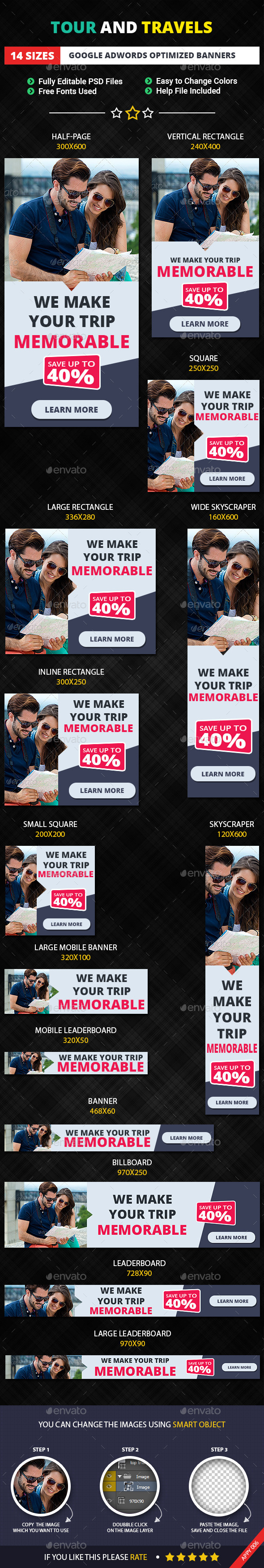 GraphicRiver Tour and Travels Banner Template 11539917