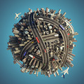 Miniature chaotic urban planet isolated - PhotoDune Item for Sale