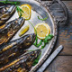 Mackerels on silver plate - PhotoDune Item for Sale