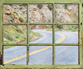 travel concept - windy road through old window - PhotoDune Item for Sale