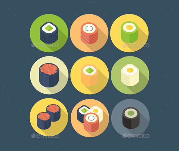 GraphicRiver Sushi Roll Pack of Icons 11545885