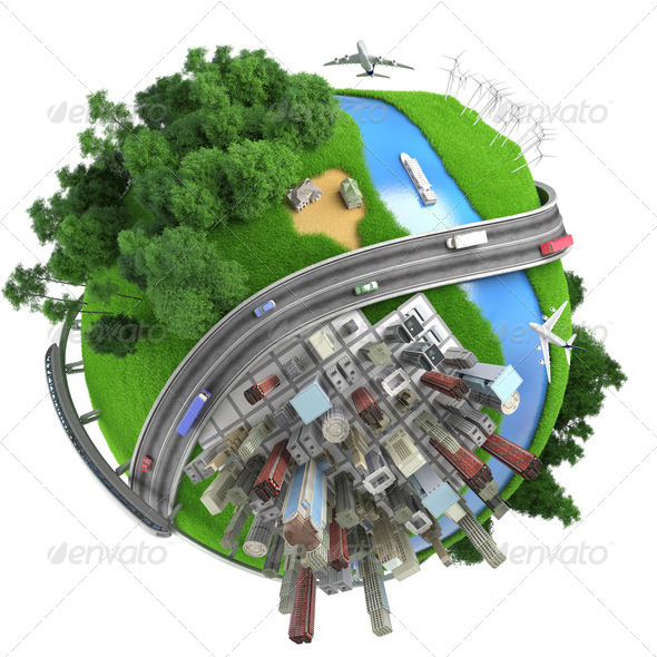 Isolated miniature globe tranports and life styles - Stock Photo - Images