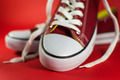 Closeup of Red Canvas Trainers - PhotoDune Item for Sale