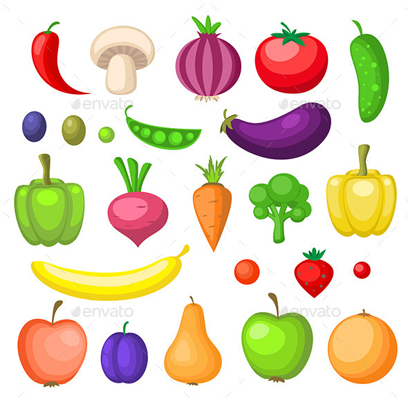 GraphicRiver Fruits and Vegetables Icons 11546502