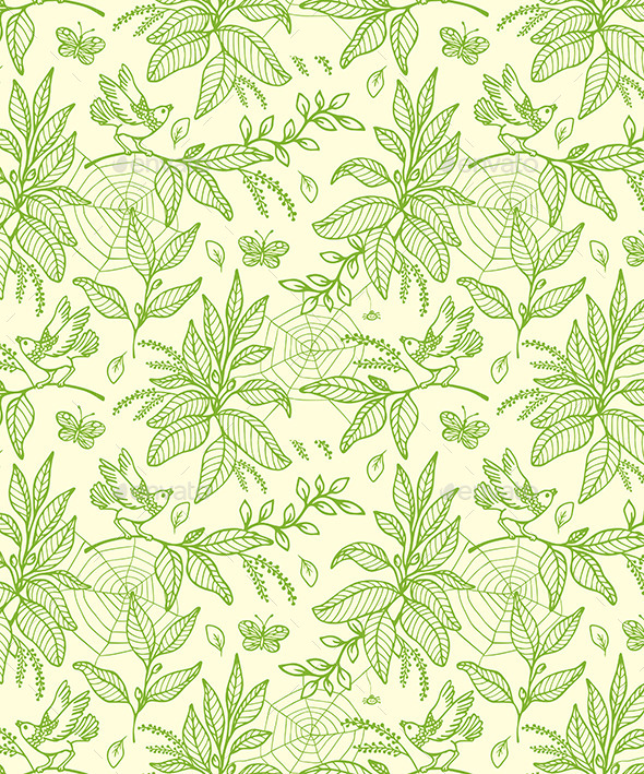 GraphicRiver Green Seamless Pattern with Plants and Birds 11546786