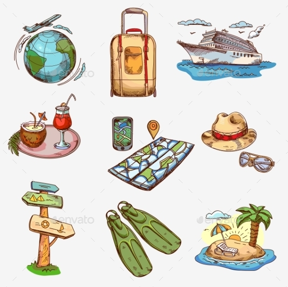 GraphicRiver Hand Drawn Travel Icons 11546813