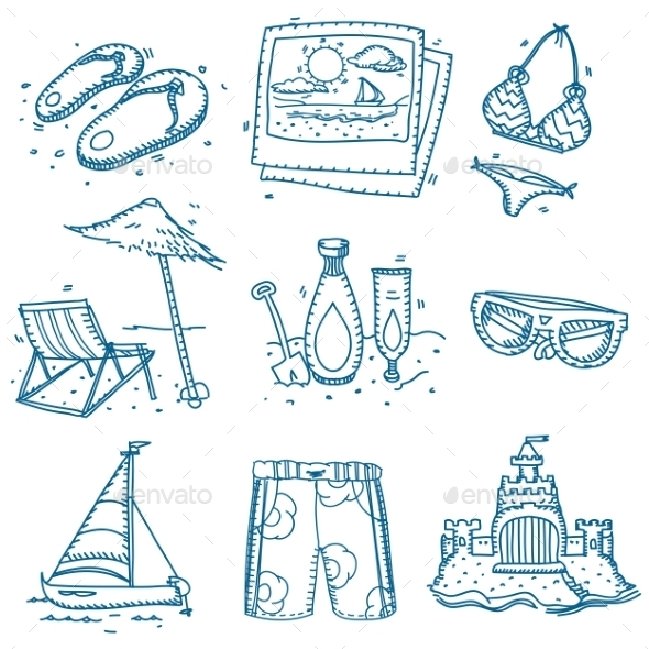 GraphicRiver Hand Drawn Doodle Sketch Travel Summer Icons 11546832