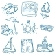 Hand Drawn Doodle Sketch Travel Summer Icons  - GraphicRiver Item for Sale