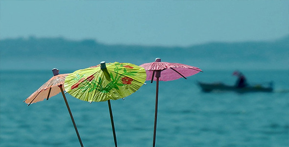 Cocktail Umbrellas and Fishing Boat